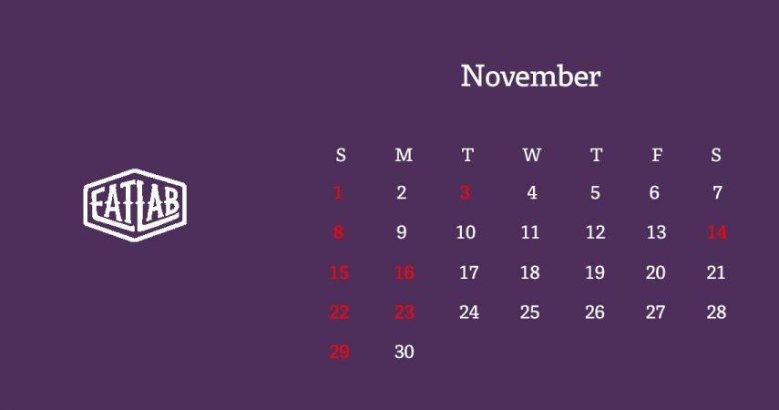 11月の営業日について