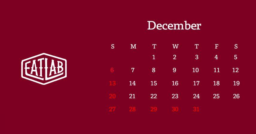 12月の営業日とご案内について
