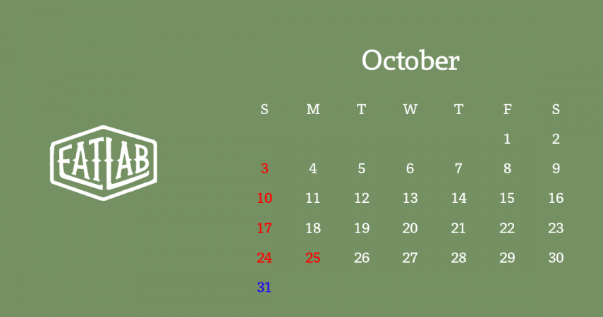 10月営業日のお知らせ