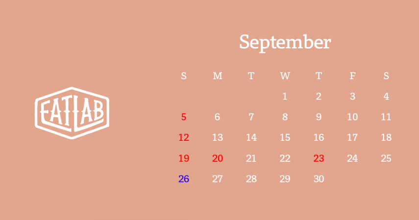 9月営業日のお知らせ
